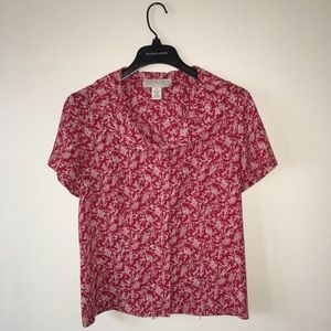 NORTON MCNAUGHTON RED FLORAL BUTTON UP BLOUSE